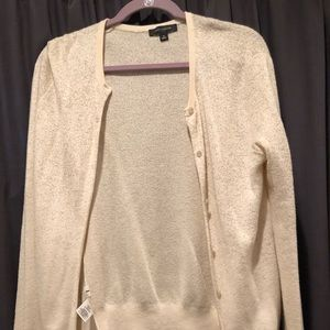 Ann Taylor Cream/Gold Cardigan